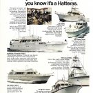 1975 AMF Hatteras Yachts 2 Page Color Ad- Nice Photos of 14 Models
