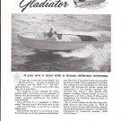 1958 Ancarrow Marine Ad- Great Photo of 20' Gladiator Boat