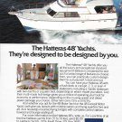 1983 AMF Hatteras 48' Yacht Color Ad- Nice Photo