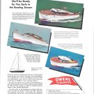 1945 Owens Yacht Company Color Ad- Drawings of 3 Models