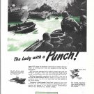 1945 WW II Federal Mogul Ad- Nice Drawing LST War Boat In Action