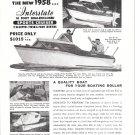 1958 Interstae Boats Ad- Nice Photo of 16' Sports Cruiser