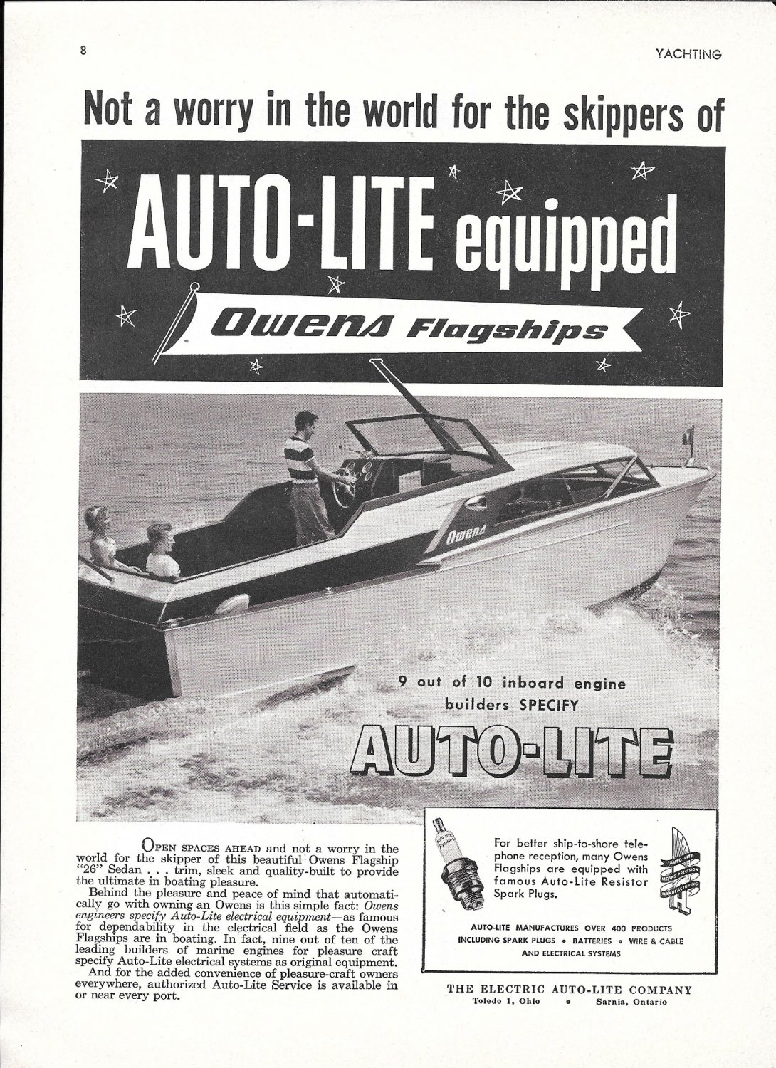 1955 Auto- Lite Spark Plugs Ad-Nice Photo Owens 26' Sedan Yacht