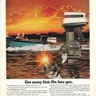 1973 Johnson V-4 135 HP. Outboard Motor Color Ad- Nice Photo