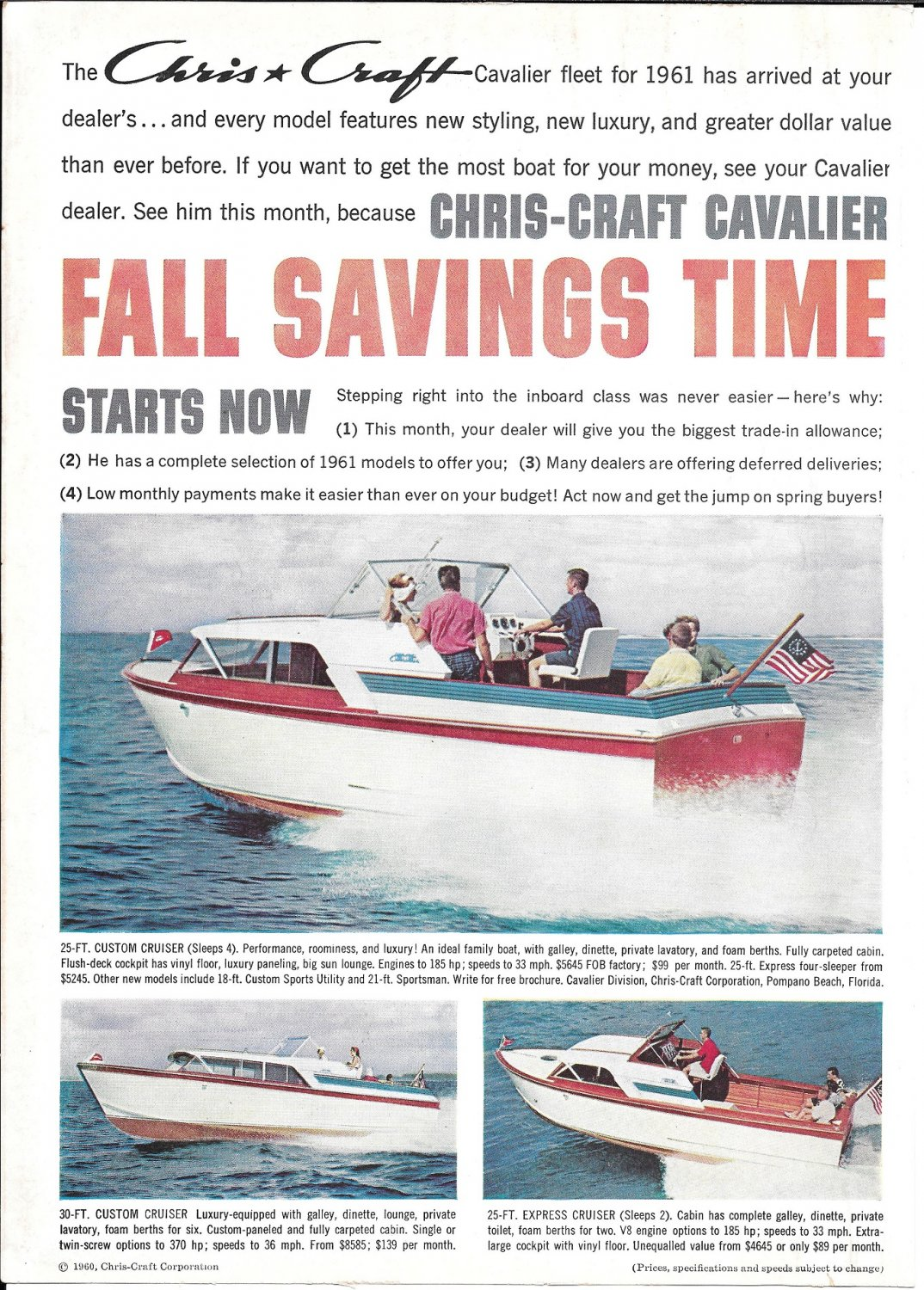 1961 Chris- Craft Boats Color Ad- Nice Photos of 30-25 & 25'