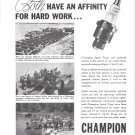 1944 WW II Champion Spark Plugs Ad- Photos of War Scenes