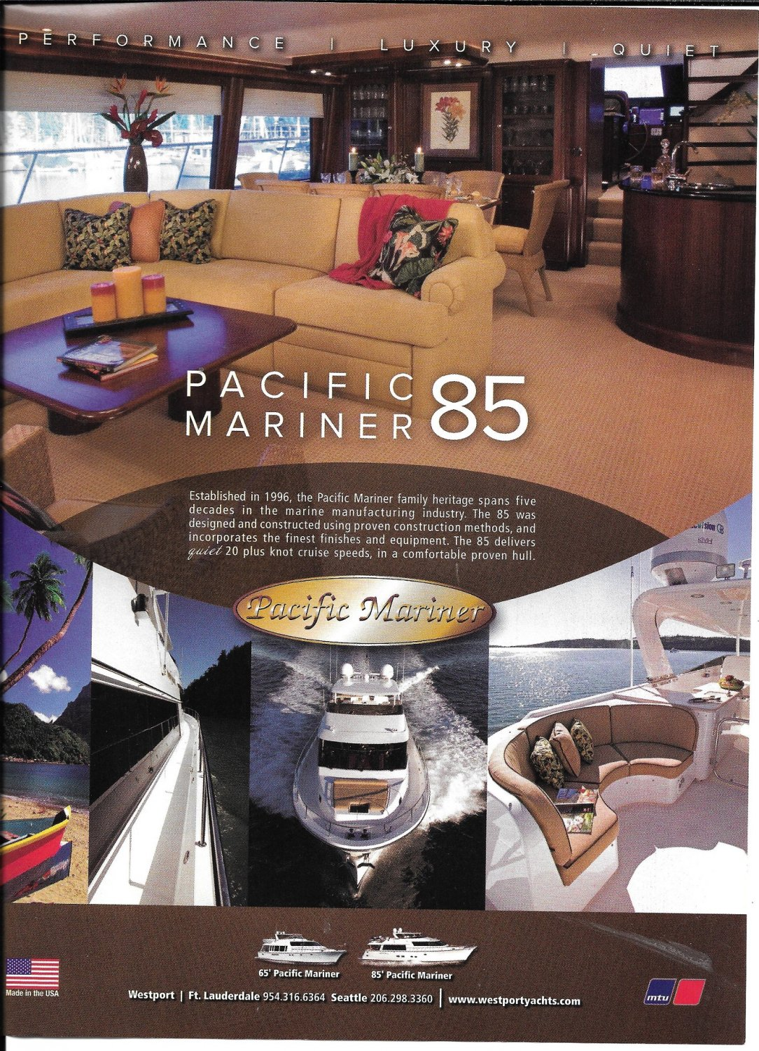 2007 Pacific Mariner 85 Yacht Color Ad- Nice Photos