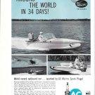 1958 AC Marine Spark Plugs Ad- Nice Photo Boat With Mercury Outboard Motor