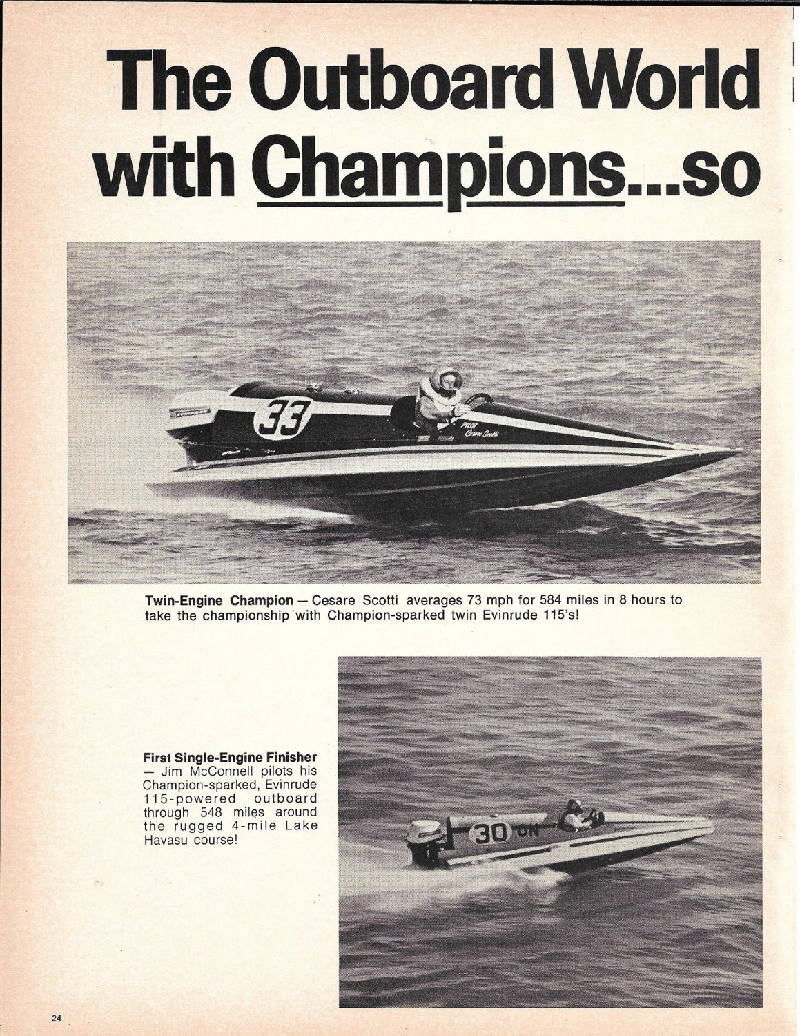 1970 Champion Spark Plugs 2 Page Ad- Nice Photos of 3 Hydroplanes