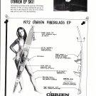 1972 O'Brien Fiberglass EP Water Skis Ad- Nice Photo- Hot Girl
