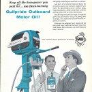 1958 Gulfpride Outboard Motor OilAd- Drawing of Evinrude Outboard Motor