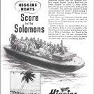 1943 WW II Higgins War Boats Ad- Nice Photo- Solomons