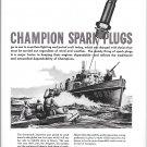 1943 WW II Champion Spark Plugs Ad- Drawing Coast Guard CG- 838