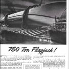 1943 WW II Defoe Shipbuilding Co Ad- Drawing of U.S.S. Bunch Rolled Over