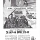 1944 WW II Champion Spark Plugs Ad- Drawing of Landing Boats