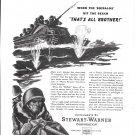 1944 WW II Stewart- Warner Ad- Drawing of Navy LVT