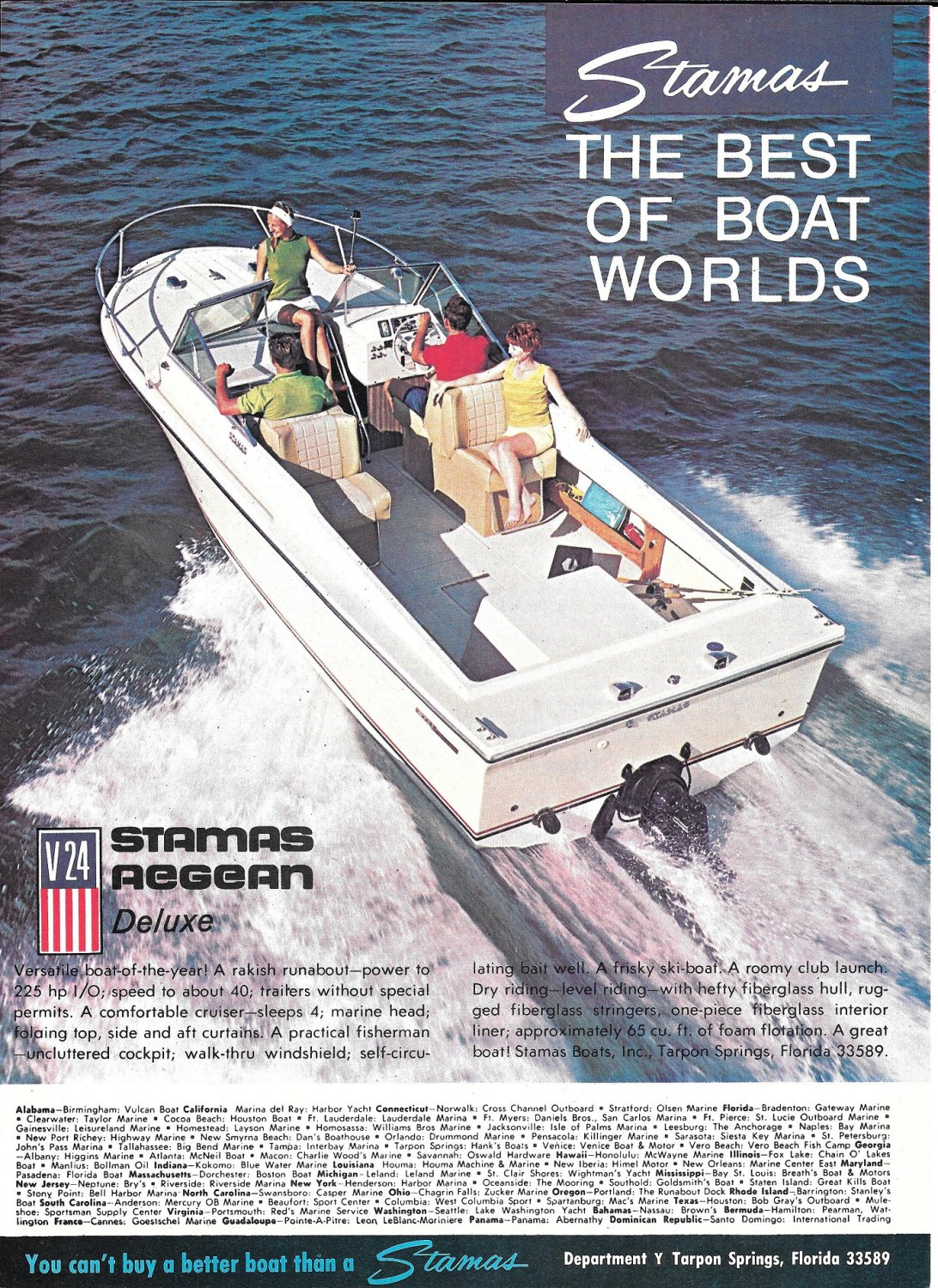 Old Stamas V24 Aegean Deluxe Boat Color Ad- Nice Photo