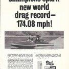 "1967 Champion Spark Plugs Ad- Nice Photo Hydroplane ""Climax"""