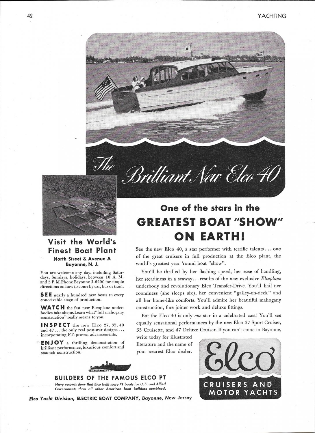 1947 Electric Boat Co Ad- Nice Photo of Elco 40 Yacht
