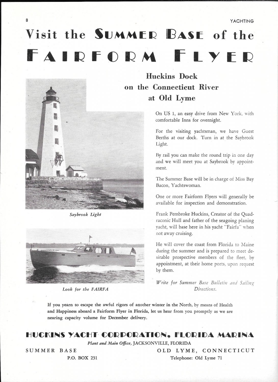1948 Huckins Yacht Corp Ad- Photo of Fairfa & Saybrook Light House