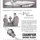 "1948 CHampion Spark Plugs Ad- Nice Photo Hydroplane ""Yankee Doodle V"""