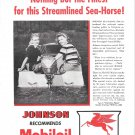 1946 Mobil Marine Products Ad- Nice Photo Johnson Sea- Horse Outboard Motor