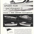 1958 Century Boat Company 2 Page Ad- Photos of 9 Models