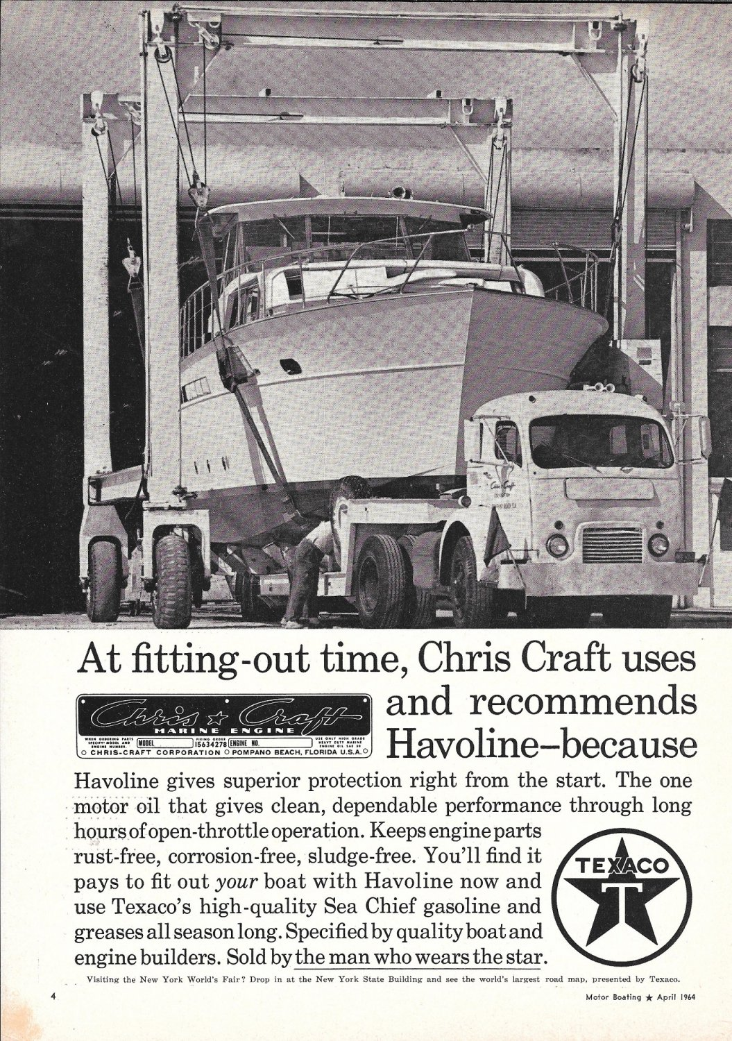 1964 Texaco Marine Ad- Nice Photo of Chris- Craft Yacht Fitting- out Time