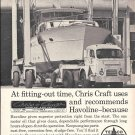 1968 Texaco Marine Ad- Great Photo Chris- Craft Yacht Fitting- Out Time
