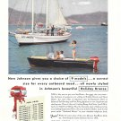 1956 Johnson Holiday Bronze Outboard Motor Color Ad- Nice Photo of Century Boat