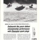 1965 Champion Spark Plugs Ad- Nice Photo Stock Outboard National Beaver, PA.