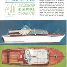 1958 Owens 40 Flying Bridge Yacht Color Ad- Nice Drawing