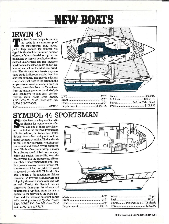 1985 Irwin 43 & Symbol 44 New Boats Ad- Specs & Drawings