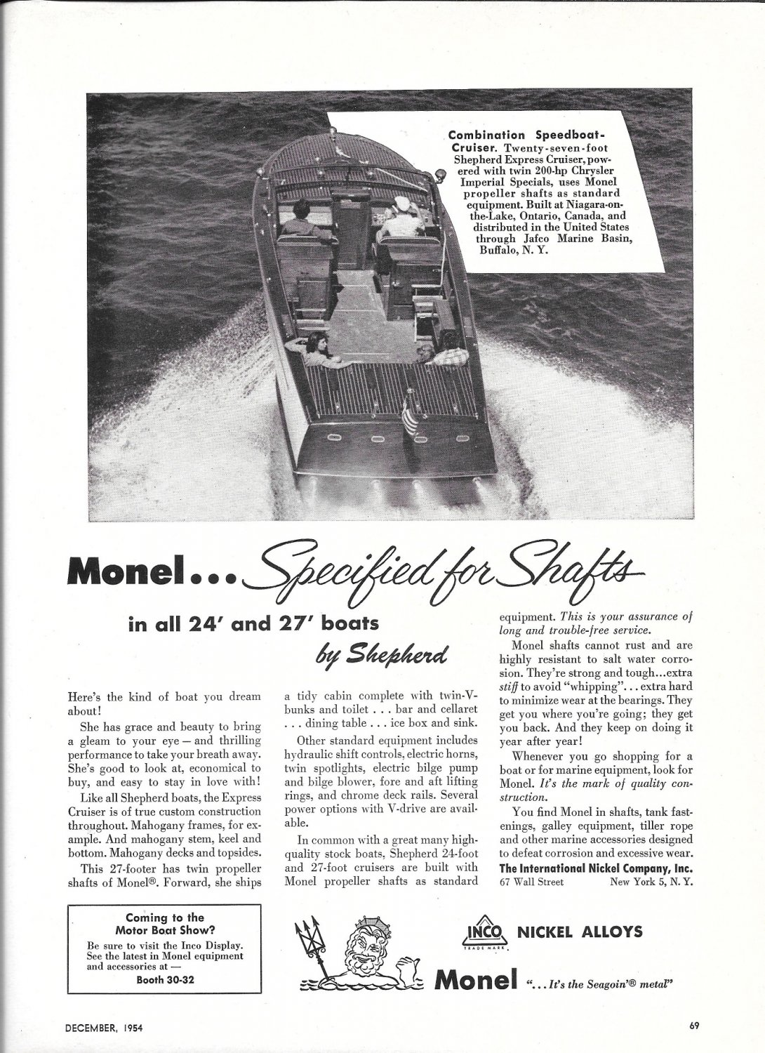 1954 Monel Metals Ad- Nice Photo of Shepherd 27' Speedboat Cruiser