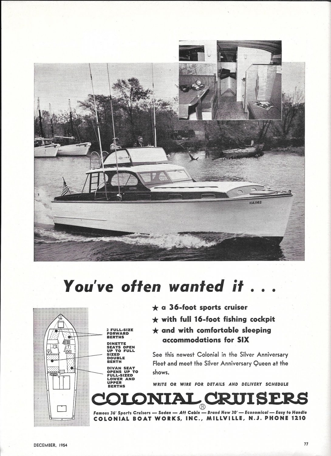 1955 Colonial Cruisers Ad- Nice Photo of 36' Sports Cruiser