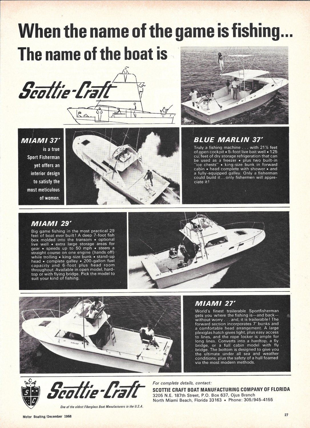 1969 Scottie- Craft Boats Ad- Photos of 4 Models