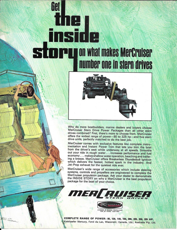 1969 Kiekhaefer MerCruiser Stern Drives Color Ad- Photo