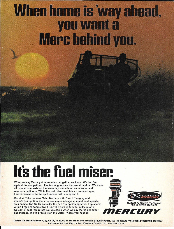 1969 Kiekhaefer Mercury 80 HP Outboard Motor Color Ad- Photo