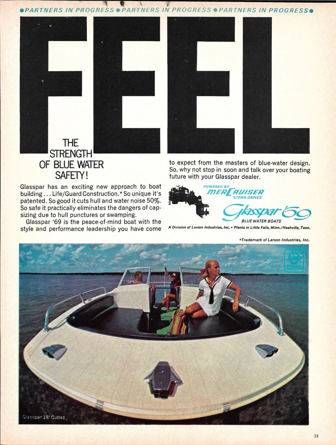 1969 Glasspar 18' Cutlas Boat Color Ad- Nice Photo- Hot Girl