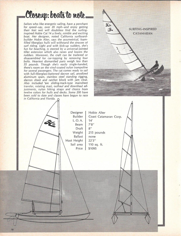 1969 Coast Catamaran Hobie Cat 14 Ad- Photo- Drawing- Specs