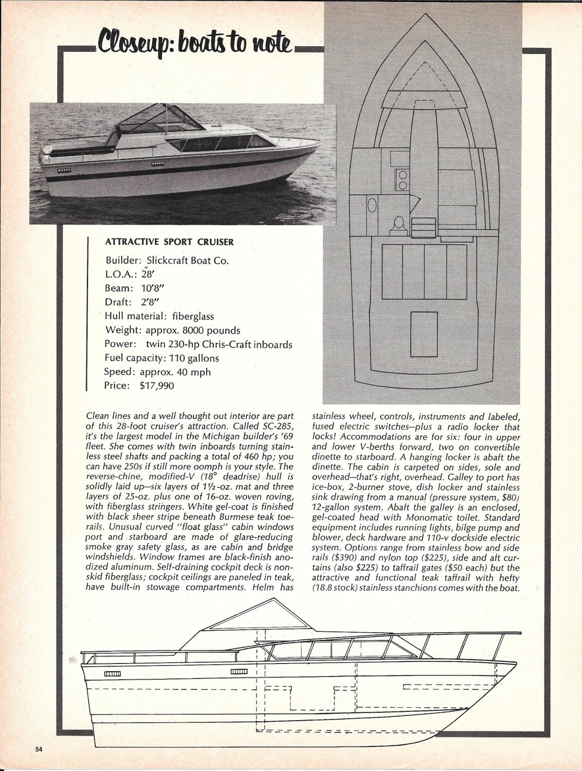 1969 Slickcraft 28' SC-285 Boat Ad- Photo- Drawing- Specs