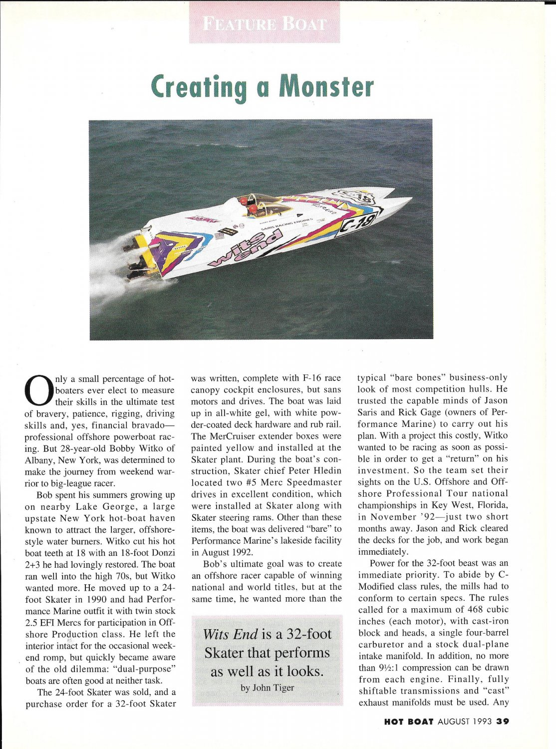 """1993 Skater 32' Boat """"Wits End"""" Review- Nice Photos"""