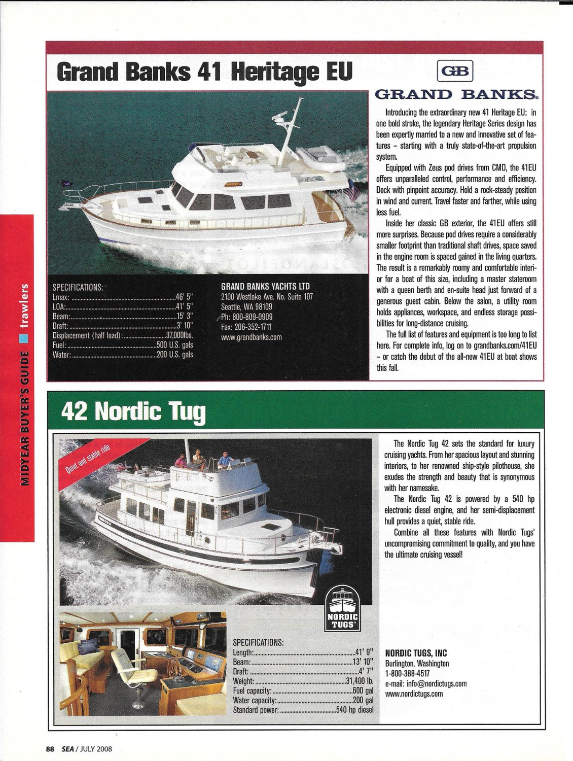2008 Grand Banks 41 & Nordic Tug 42 New Boats Review-Specs & Photos