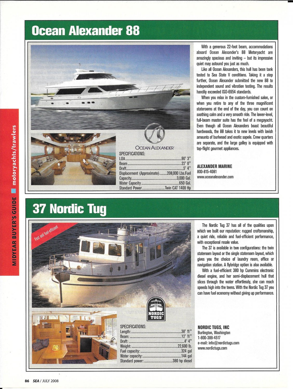 2008 Ocean Alexander 88 & Nordic Tug 37 New Boats Review-Specs & Photos