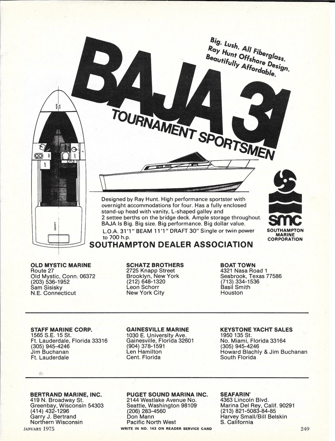 1975 Baja 31 Boats 2 Page Ad- Specs & Drawings of2 Models