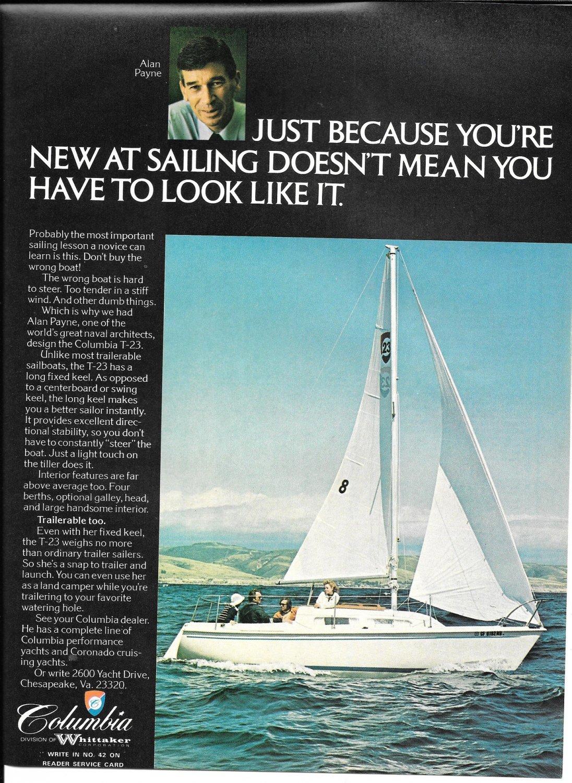 1975 Columbia T-23 Sailboat Color Ad- Nice Photo