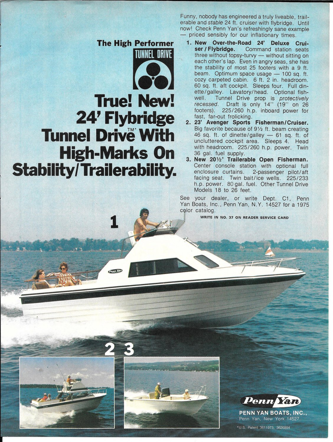 1975 Penn Yan Boats Color Ad- Great Photo of 24' Flybridge Tunnel Drive