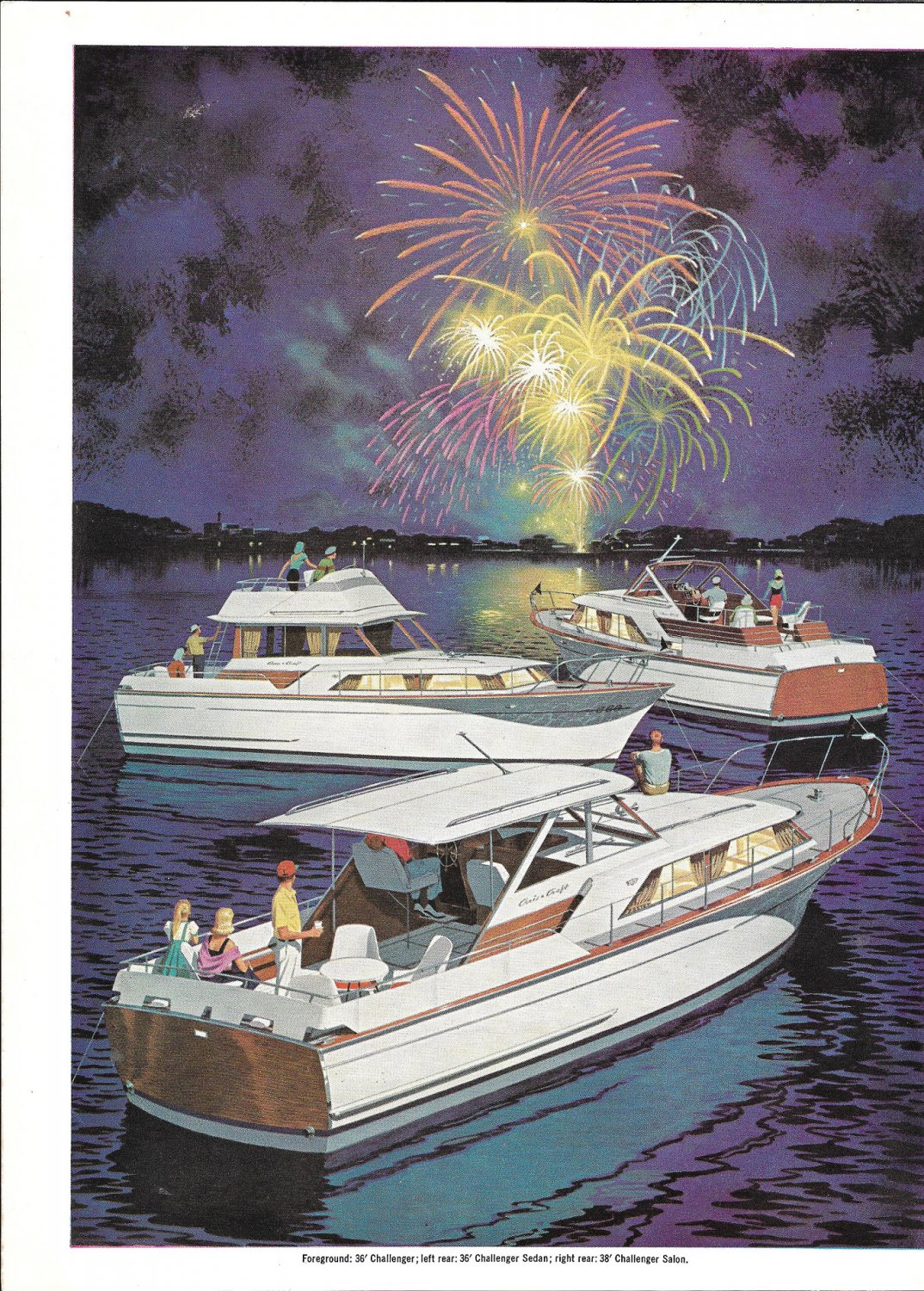 1964 Chris- Craft Boats 2 Page Color Ad- Nice Drawings