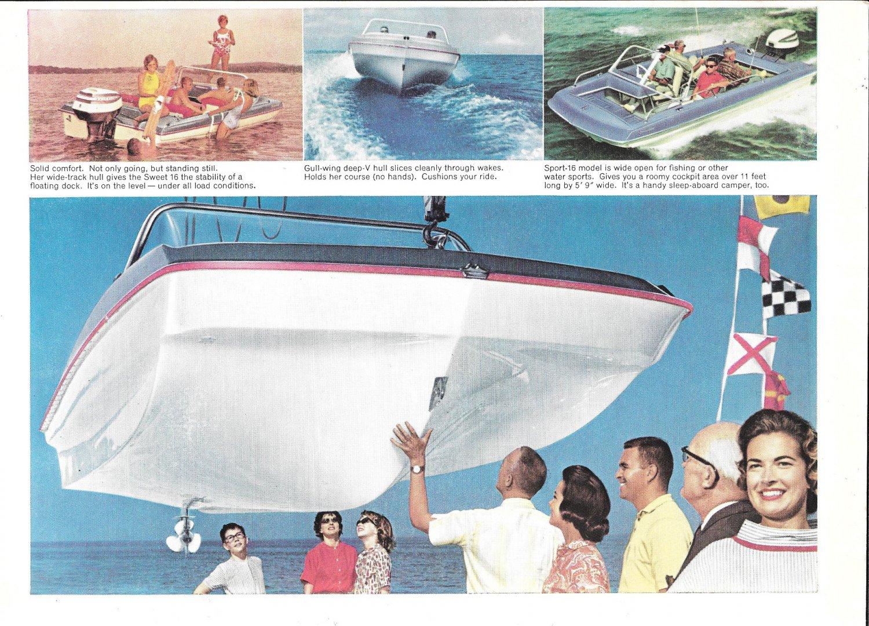 1964 Evinrude Sport-16 Boat 2 Page Color Ad- Nice Photos