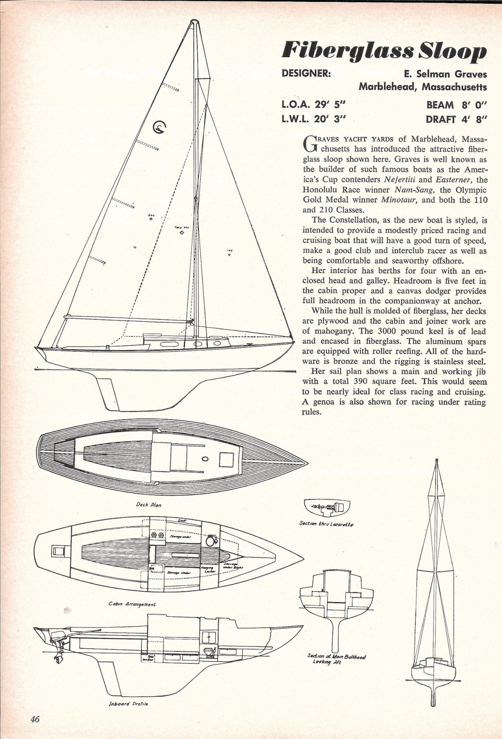 1963 Graves Yacht Yard 29' Fiberglass Sloop Ad- Drawings & Specs